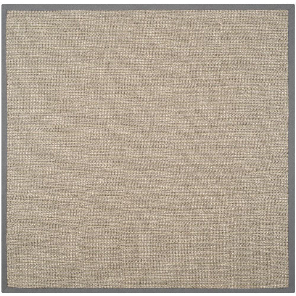 Natural Fiber Grey Brown/Grey 8 ft. x 8 ft. Square Area Rug