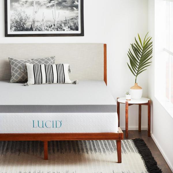 LUCID 3 in. Twin XL Bamboo Charcoal Memory Foam Mattress Topper