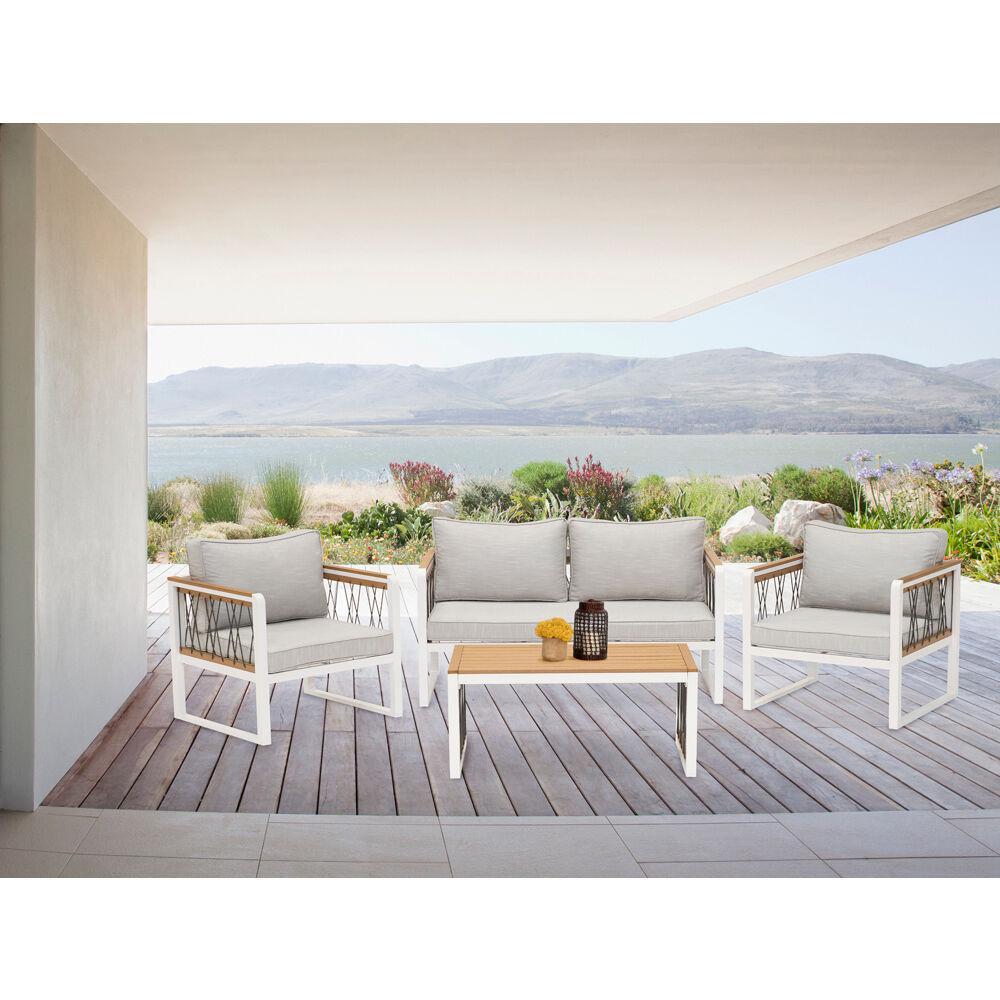 Hampton 4-Piece Aluminum Patio Conversation Set with Gray Cushions