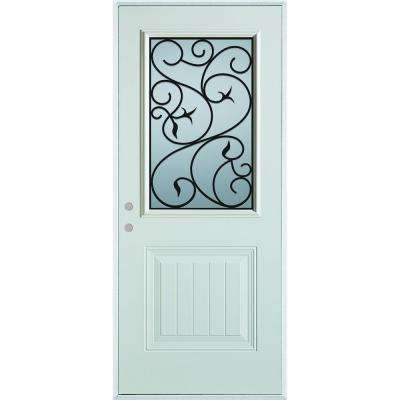 32 in. x 80 in. Silkscreened Glass 1/2 Lite 1-Panel Painted White Right-Hand Inswing Steel Prehung Front Door