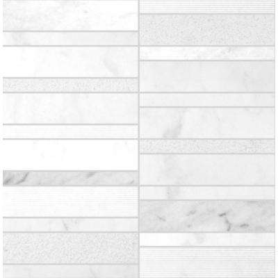 Marble Medley Carrara Random Stacked 12 in. x 12 in. x 7.9 mm Mixed Finish Marble Mesh-Mounted Mosaic Tile