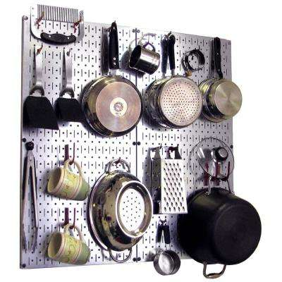 Kitchen Pegboard 32 in. x 32 in. Steel Peg Board Pantry Organizer Kitchen Pot Rack Metallic Pegboard and Red Peg Hooks