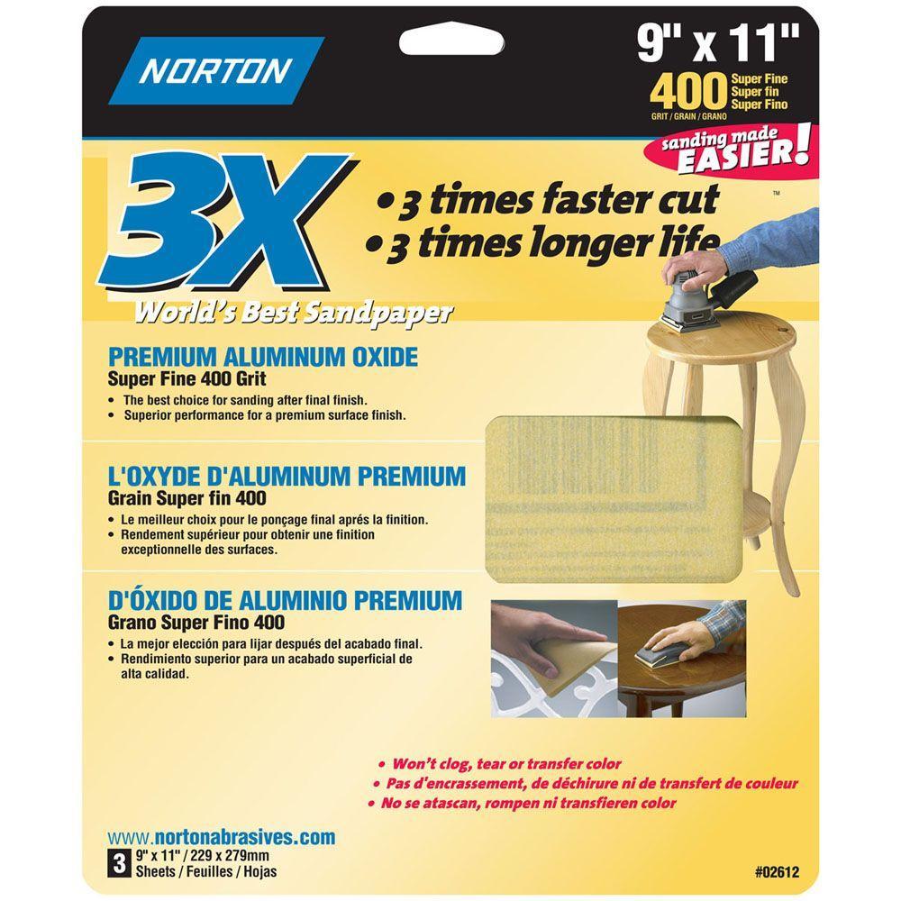 Norton 9 in. x 11 in. 400 Grit Super Fine Sandpaper Sheets (60-Pack)-DISCONTINUED
