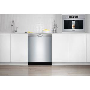 Stainless Bosch SPX68U55UC 18 800 Series Dishwasher with 10 Place Settings Fully Integrated Control Panel 44 dBA Quiet Operation Stainless Steel Euro Tub and AquaStop Plus Protection