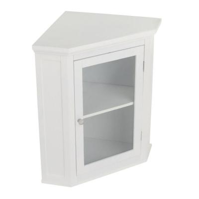 Wilshire 21-1/4 in. W x 23-3/4 in. H x 14-1/4 in. D Corner Bathroom Storage Wall Cabinet in White