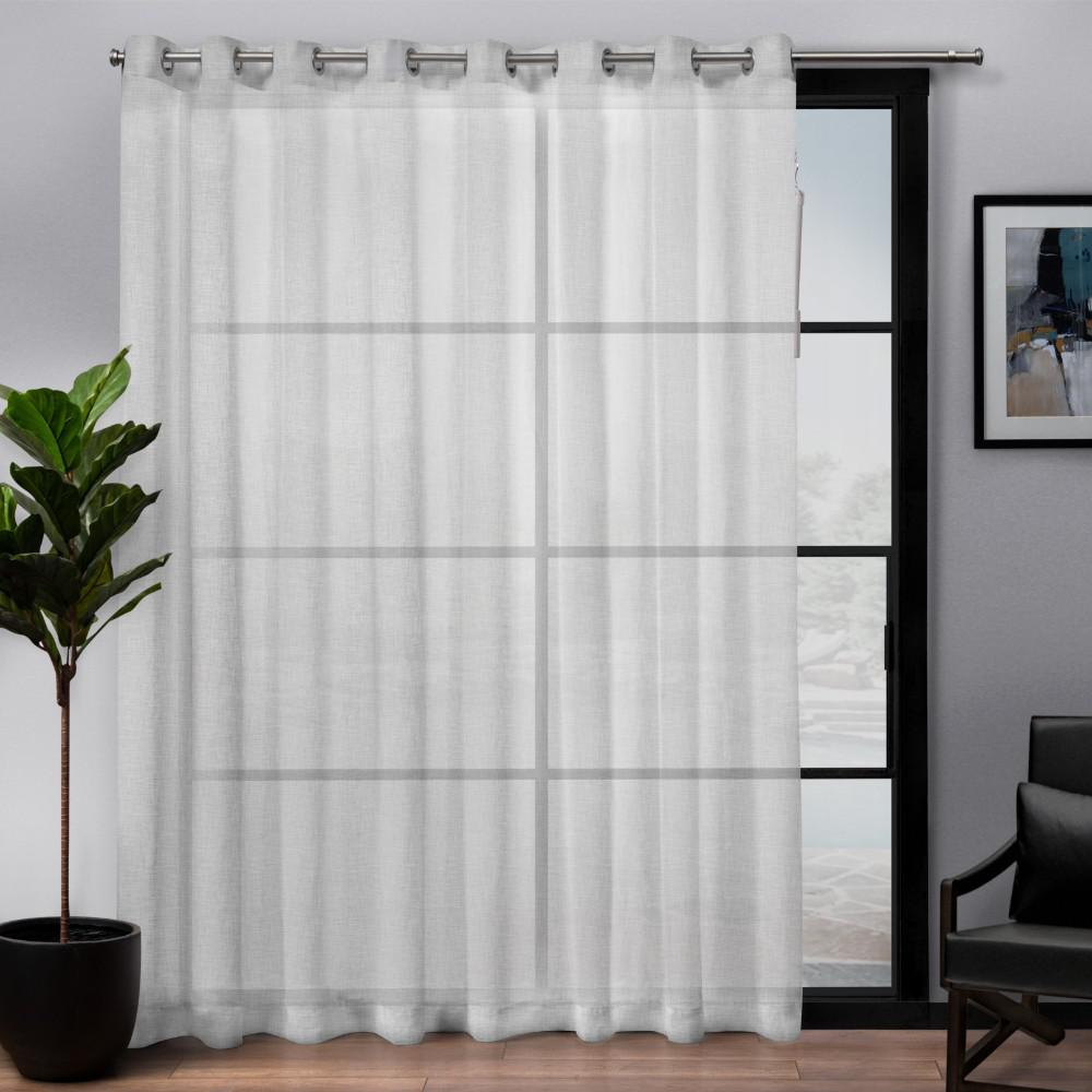 Exclusive Home Curtains Belgian Patio 108 in. W x 84 in. L Sheer Grommet Top Curtain Panel in Winter White (1 Panel)