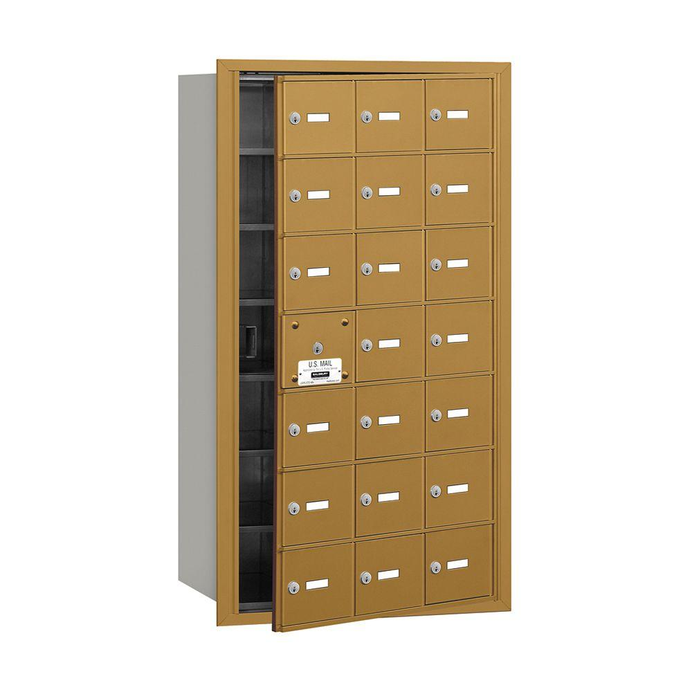 Salsbury Industries 3600 Series Gold Private Front Loading 4B Plus Horizontal Mailbox with 21A Doors (20 Usable)