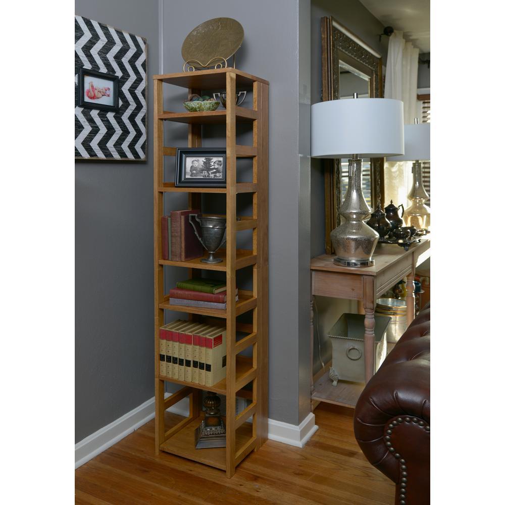 Flip Flop Medium Oak 6-Shelf Square Folding Bookcase