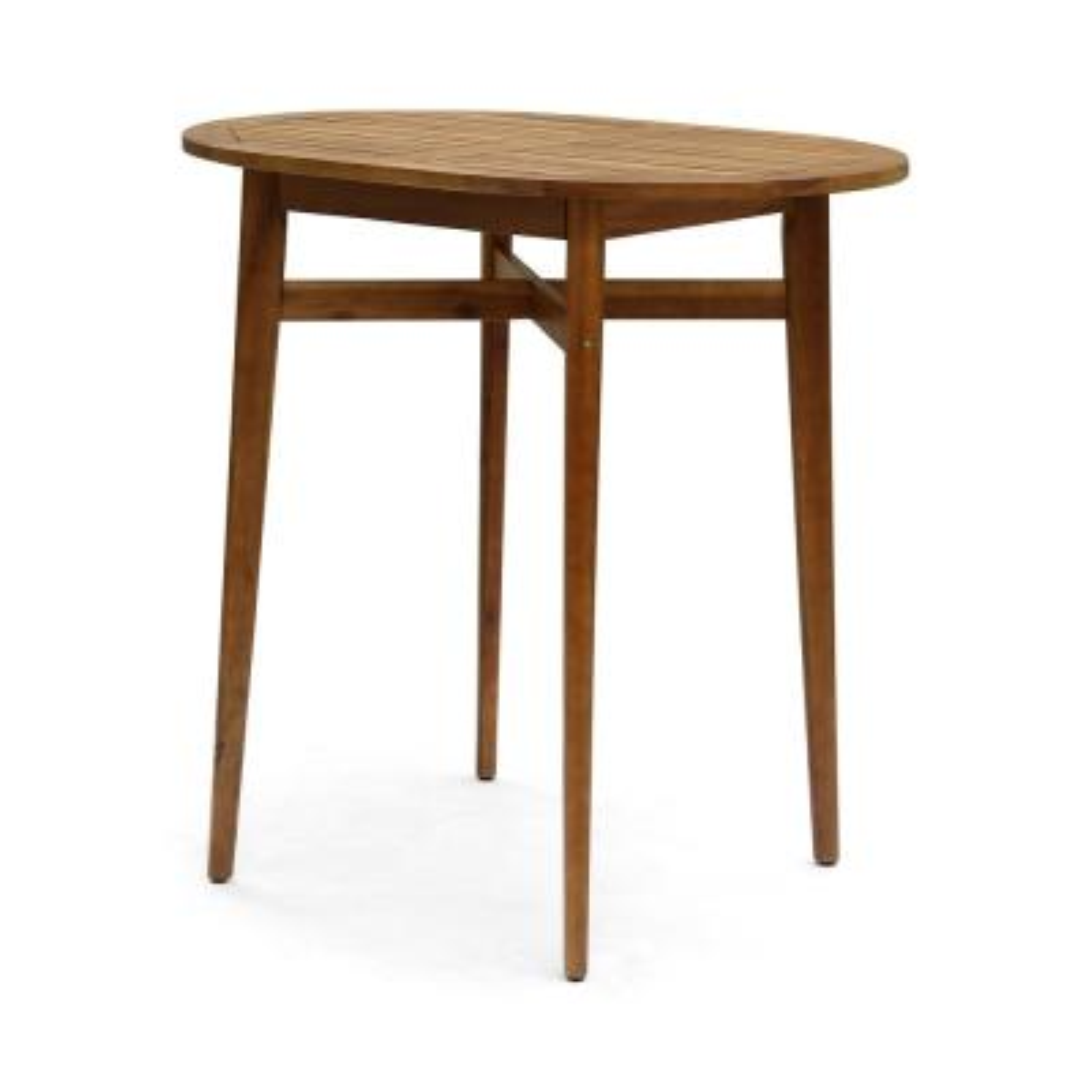 Stamford 39.75 in. Teak Brown Wood Bar Height Outdoor Patio Table
