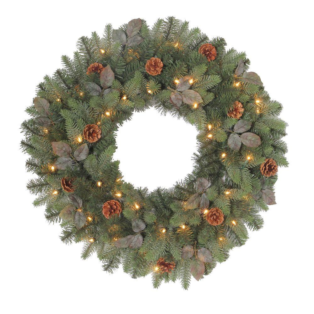 30 in. Greenland Artificial Wreath with 50 Clear Lights