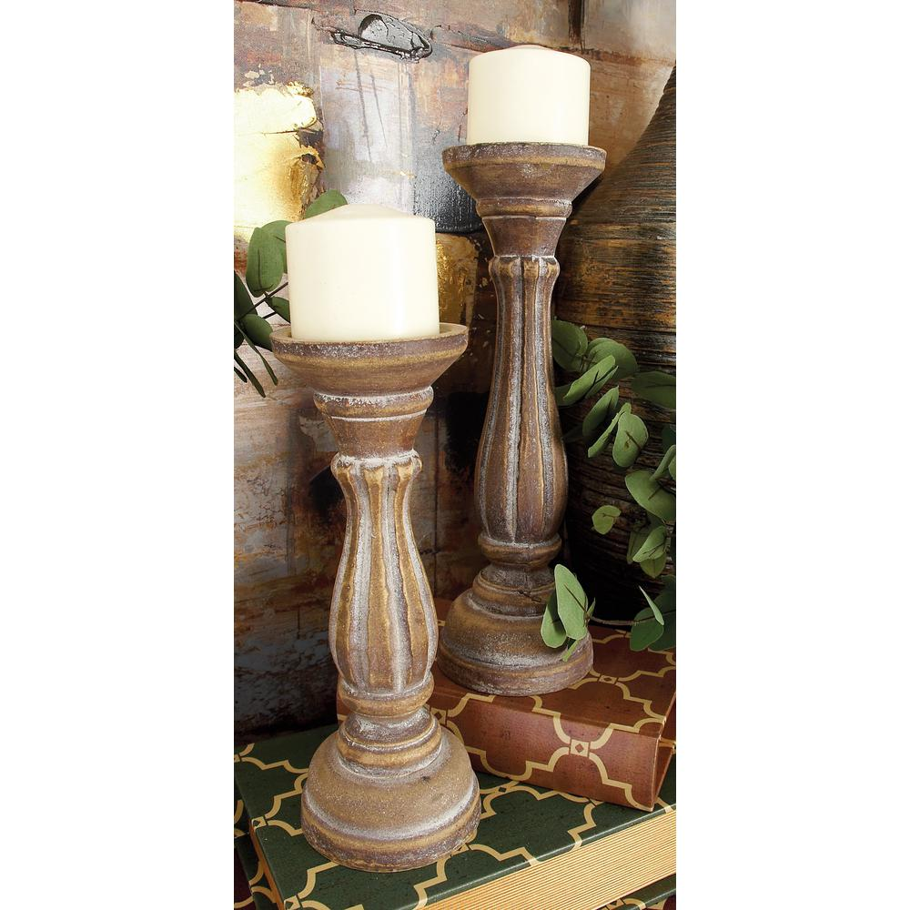 Litton Lane Rustic Brown Round Pillar Candle Holders (Set of 3)