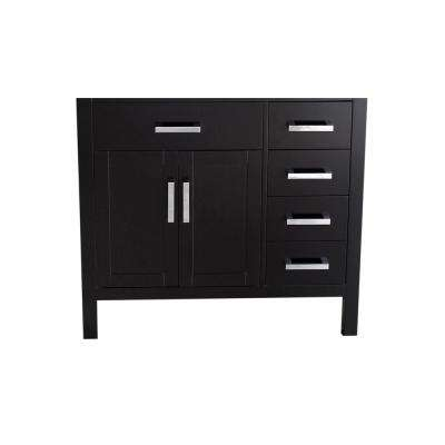 35 in. Main Cabinet Only in Black with Polished Chrome Hardware