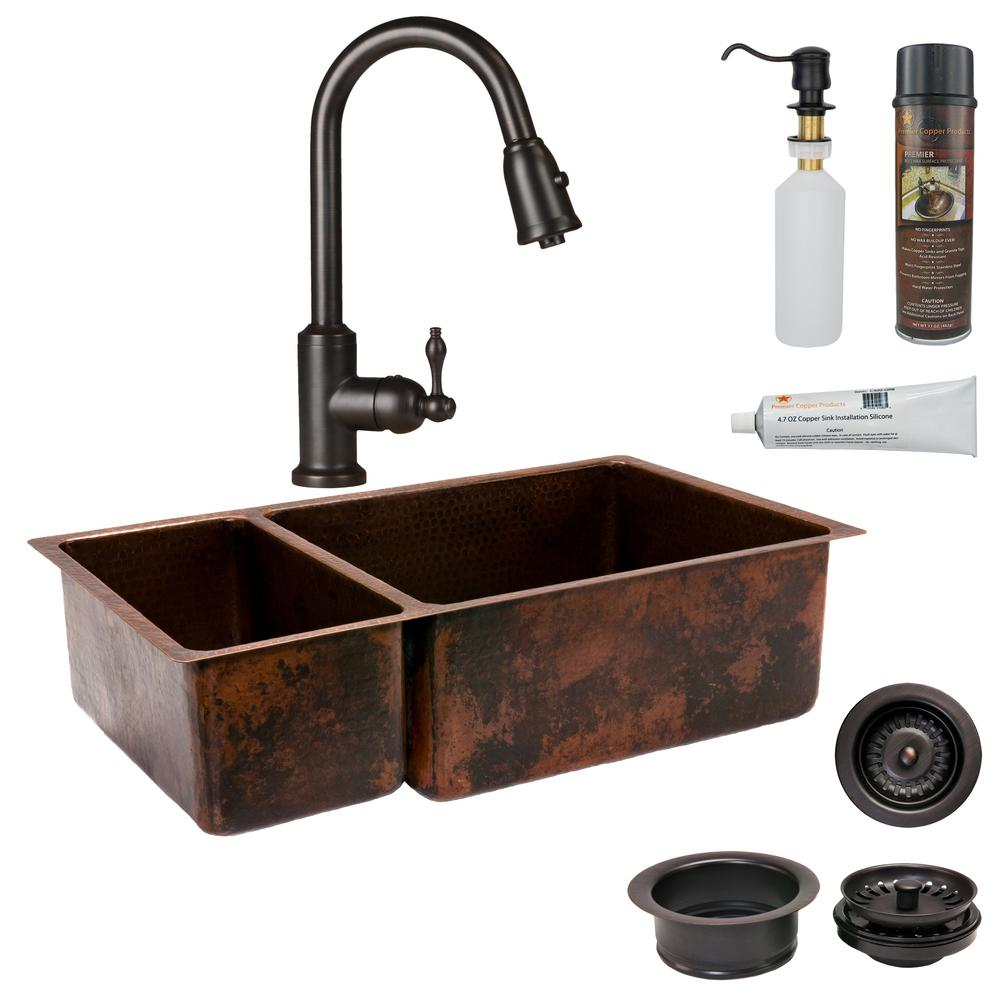 Premier Copper Products All-in-One Undermount Hammered Copper 33 in. 0-Hole  25/75 Double Bowl Kitchen Sink in Oil Rubbed Bronze