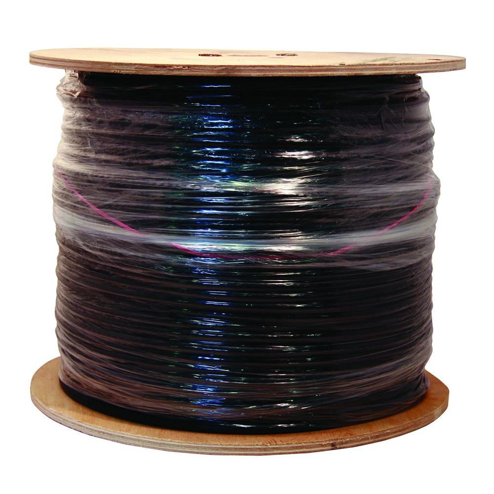 Pull Box RG6 Coaxial Cable 500 FT Black with Ground Wire 18 AWG Copper Clad 3 GHz RG-6 Copper Clad Steel Ground Messenger Outdoor Suspension Drop Digital Video Signal Cable