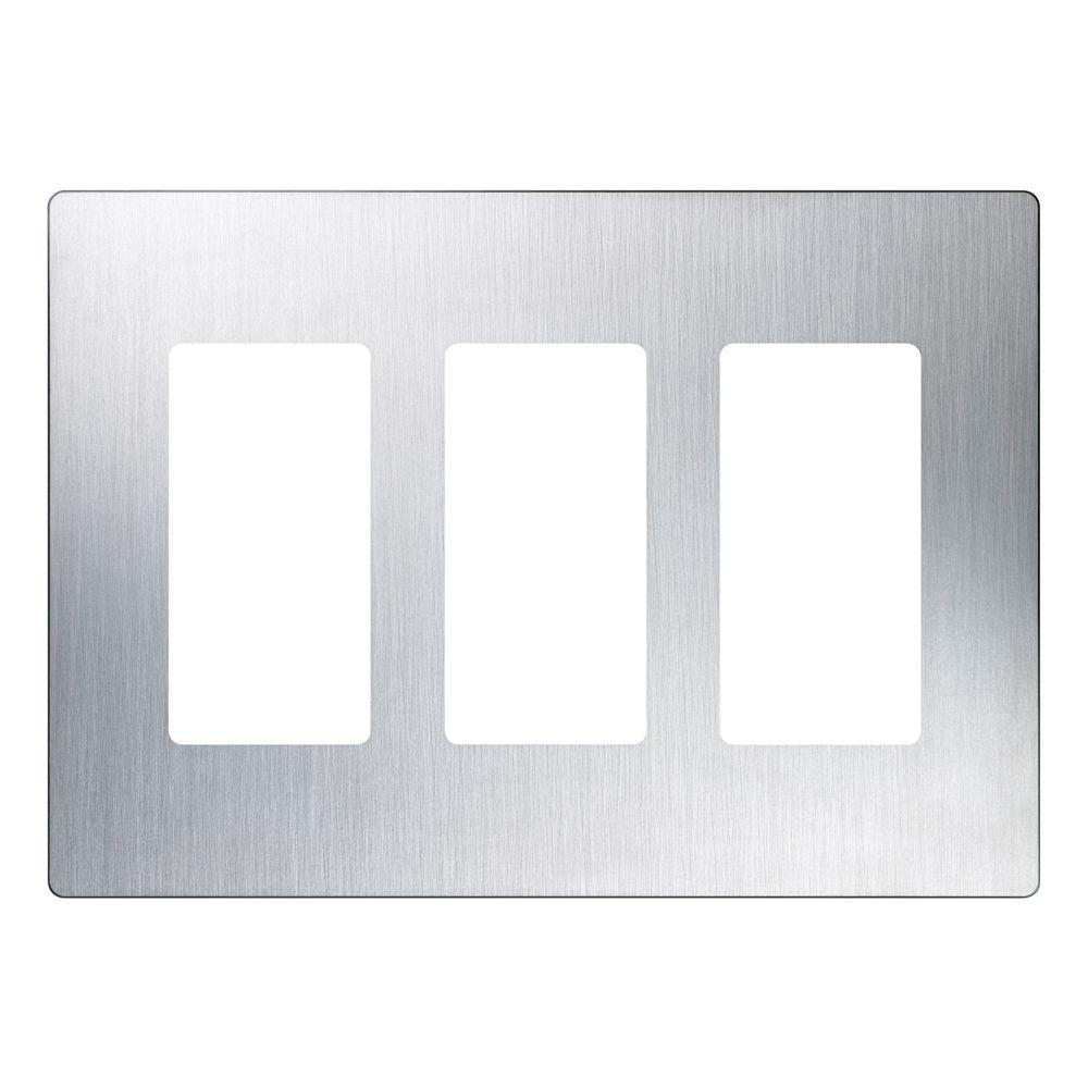 Lutron Claro 3 Gang Decorator Wallplate Stainless Steel  sc 1 st  The Home Depot & Lutron Claro 3 Gang Decorator Wallplate Stainless Steel-CW-3-SS ...