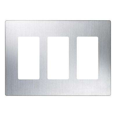 Claro 3 Gang Decorator Wallplate, Stainless Steel