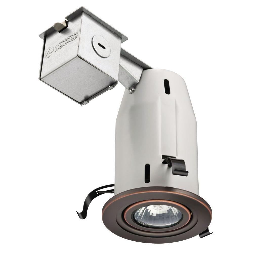 Bathroom Recessed Lighting Kit: Lithonia Lighting 3 In. GU10 Bronze Recessed Gimbal Kit