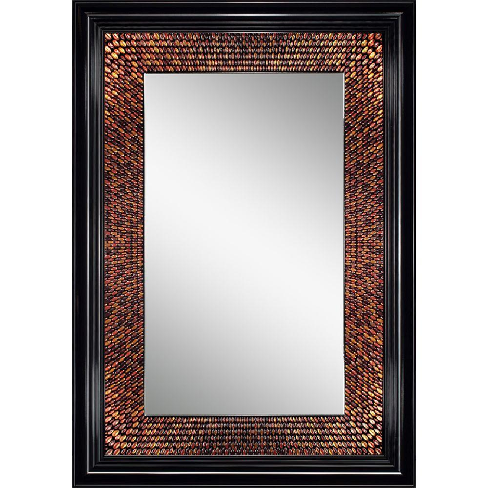 Deco Mirror 29 in. x 36 in. Amber Rectangle Mirror in Black