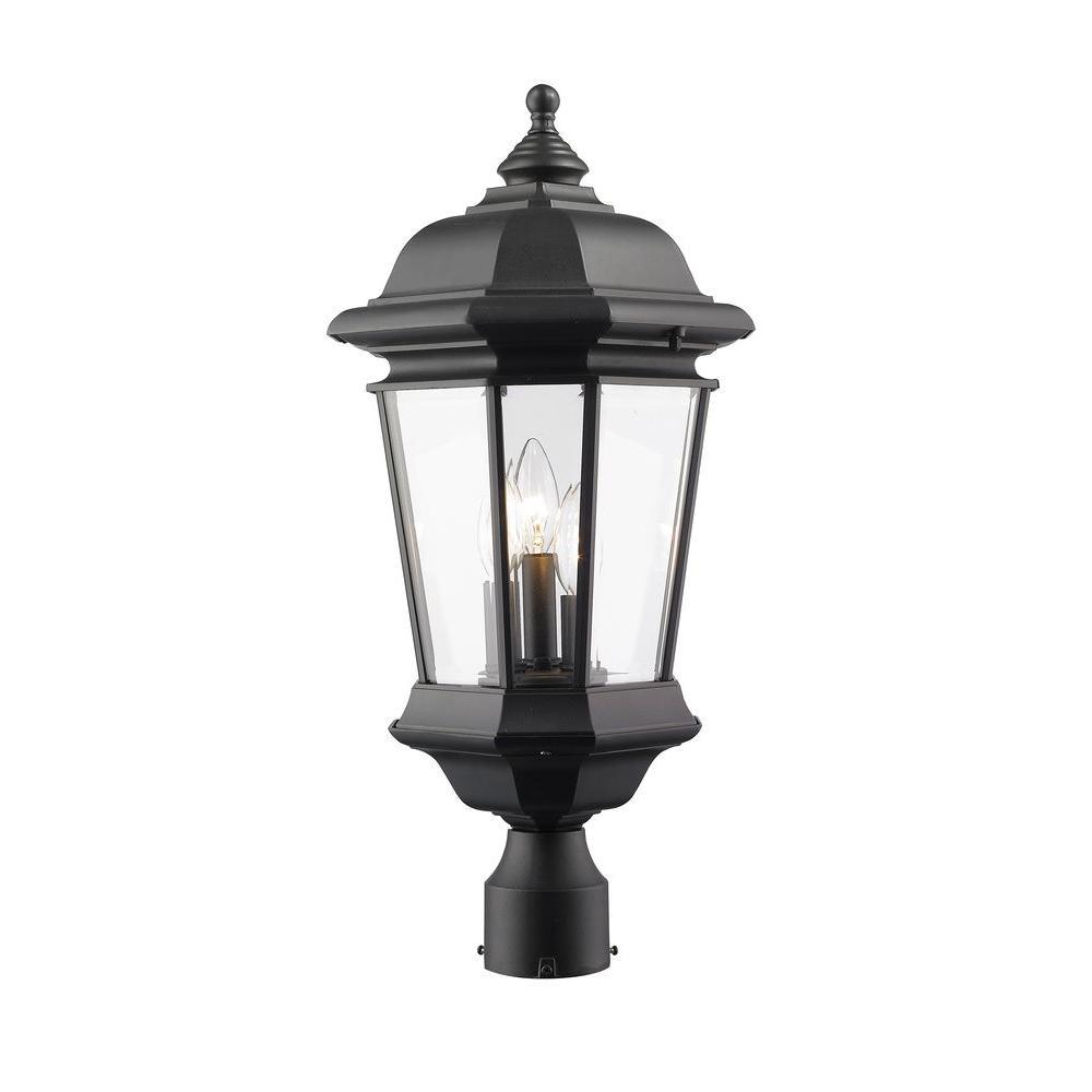 Presley 3-Light Outdoor Black Post Mount