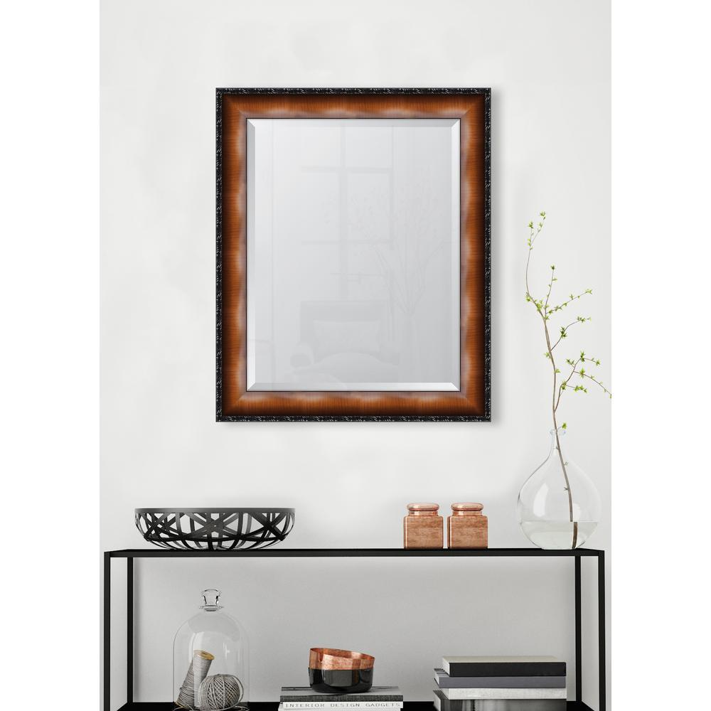 28 in. x 34 in. Framed 3 1/8 in. Faux Walnut Veneer with Black Compo Edge Resin Frame Mirror