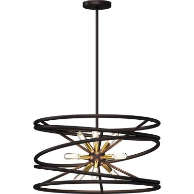 9-Light Indoor Ant. Bronze Orbital Whirlwind Spiral Twisted Downrod Pendant Chandelier w/ Ant. Gold Sputnik Candelabra
