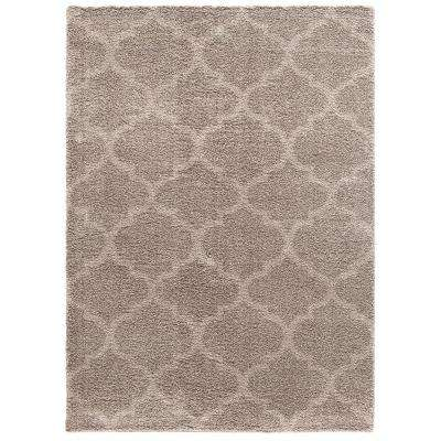 Plush Quatrefoil Beige 7 ft. x 9 ft. Area Rug