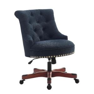Internet #302481582. Linon Home Decor Sinclair Dark Blue Office Chair ...