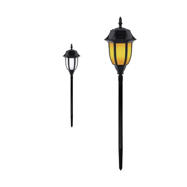Outdoor Solar Black Integrated LED Garden and Pathway Light - Amber or White Light
