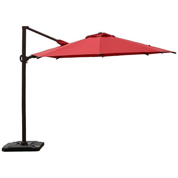 11.5 ft. 360-Degree Rotating Aluminum Cantilever Patio Umbrella with Base Weight in Dark Red