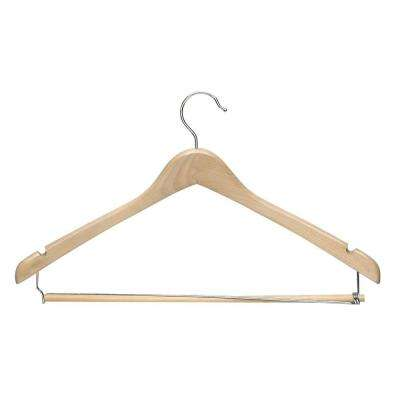 Contoured Suit Hanger with Locking Bar in Maple Finish (6-Pack)