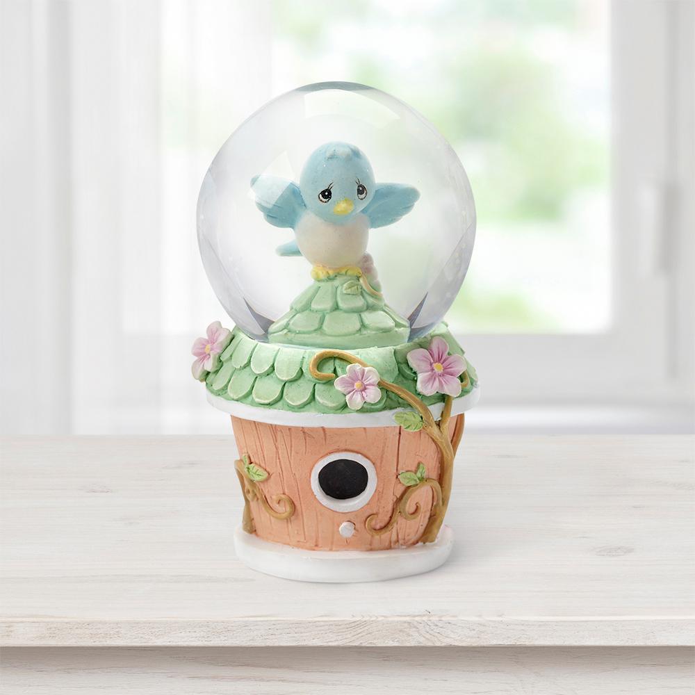 Tabletop Snow Globe Resin/Glass Mini Bluebird Birdhouse