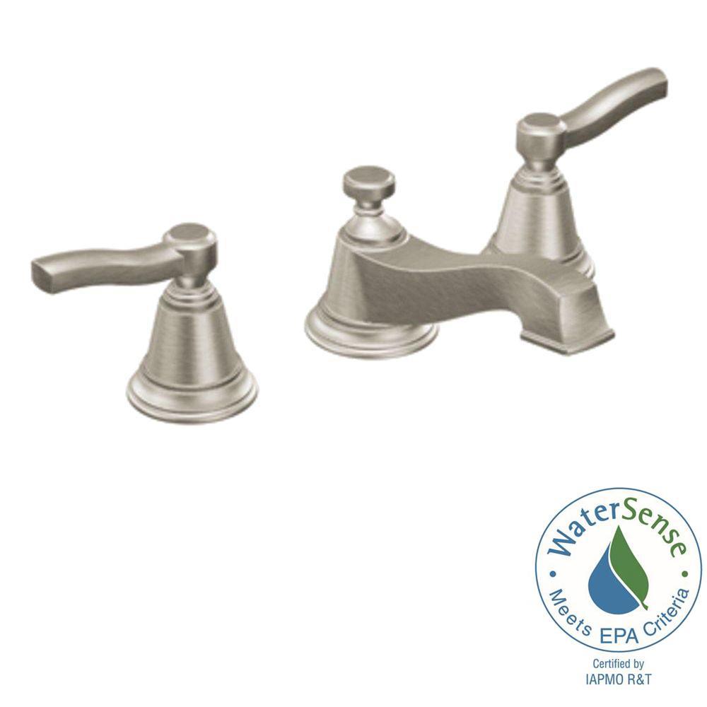 MOEN Rothbury 8 in. Widespread 2-Handle Low-Arc Bathroom Faucet Trim ...