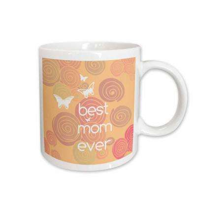 PS Creations Best Mom Ever Pink Swirls and Butterflies 11 oz. White Ceramic Coffee Mug
