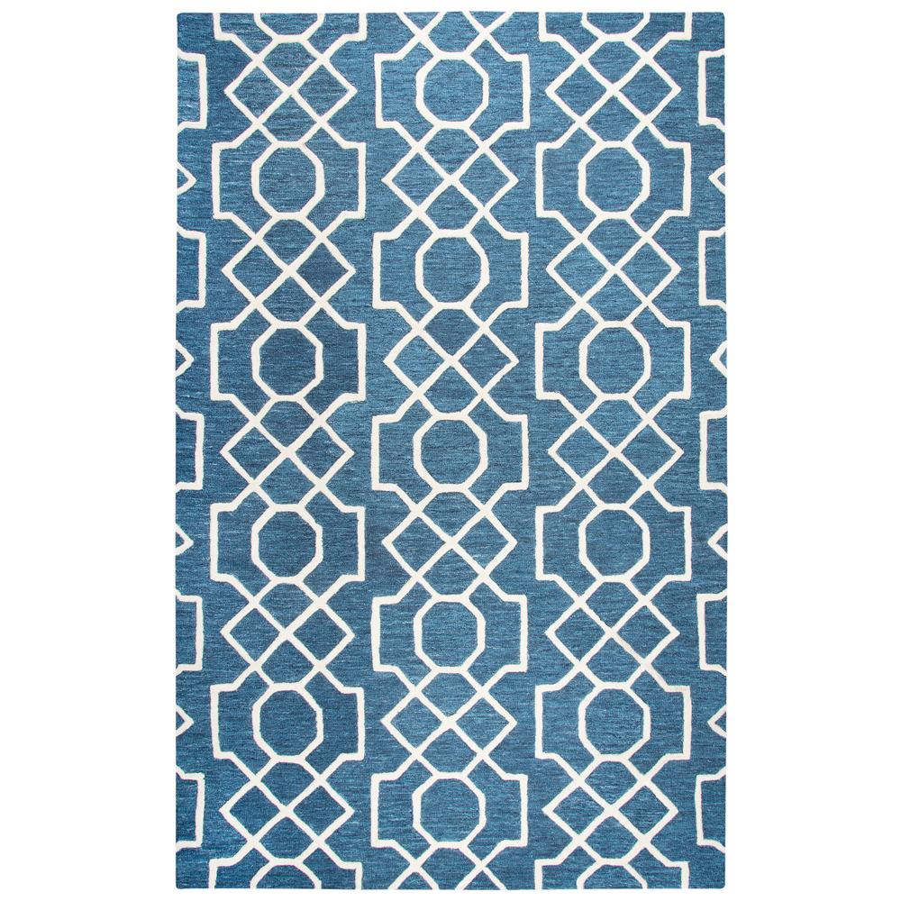 Rizzy home idyllic blue and ivory geometric 8 ft x 10 ft for Geometric print area rugs