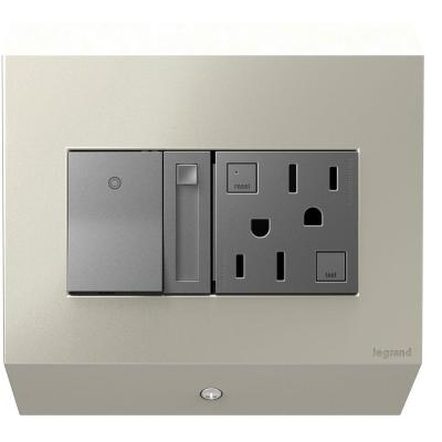 adorne Under Cabinet 2-Gang Control Box with Paddle Dimmer and 15 Amp GFCI