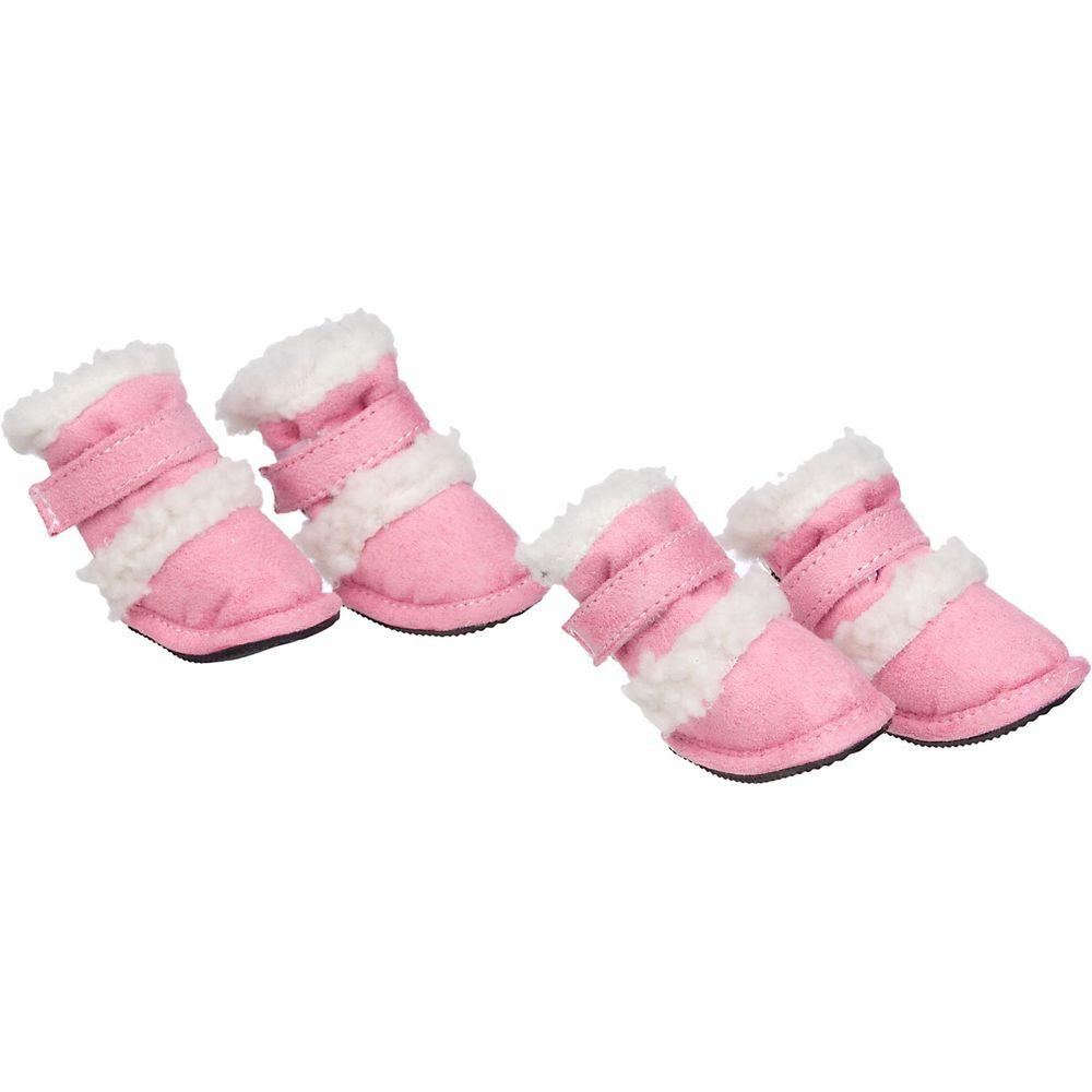 Petlife Shearling Duggz Shoes - Set of 4 Pink - F4PKXS