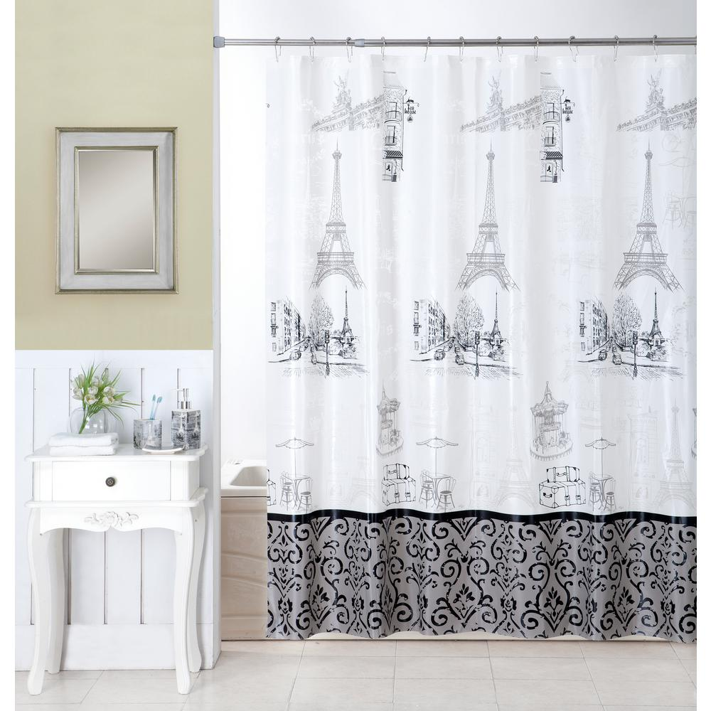 Indecor Home Stroll Through Paris 16 Piece Ceramic Accessories And Shower Curtain Set