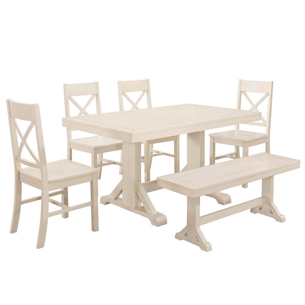 White Wood Dining Set: Walker Edison Furniture Company Millwright 6-Piece Antique