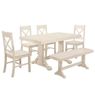 Millwright 6-Piece Antique White Wood Dining Set
