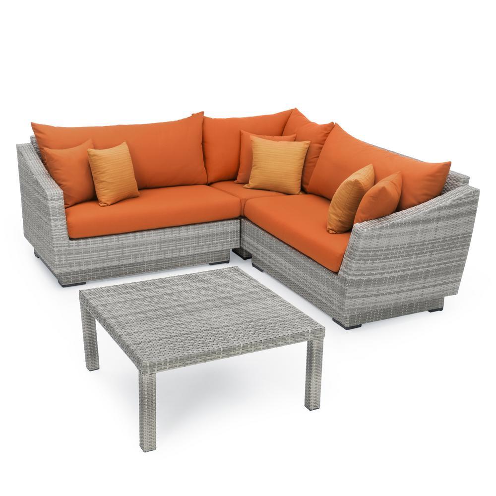 Cannes 4-Piece Patio Corner Sectional Set with Tikka Orange Cushions