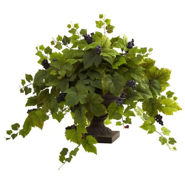 Nearly Natural Grape Leaf with Iron Colored Urn