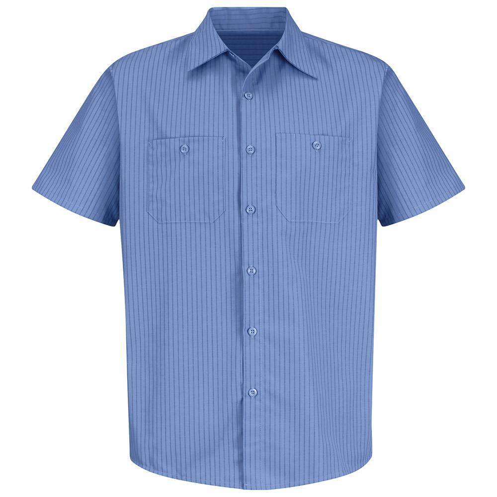 Men's Size L Petrol Blue / Navy Stripe Industrial Stripe Work Shirt