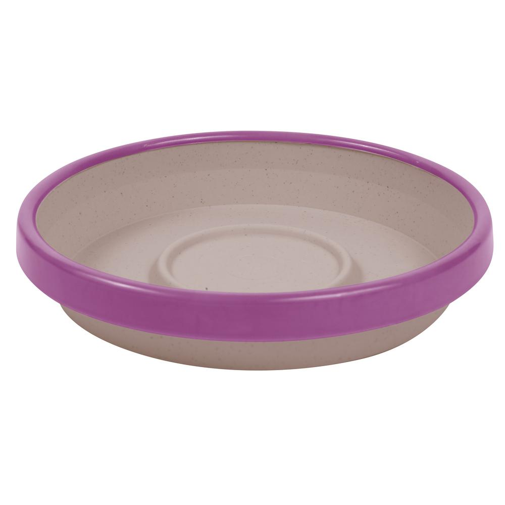 Terra 2 Tone 12 in. Taupe with Passion Fruit Plastic Saucer