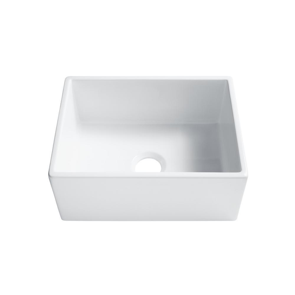 SINKOLOGY Wilcox II Farmhouse/Apron-Front Fireclay 24 in. Single Bowl  Kitchen Sink in Crisp White
