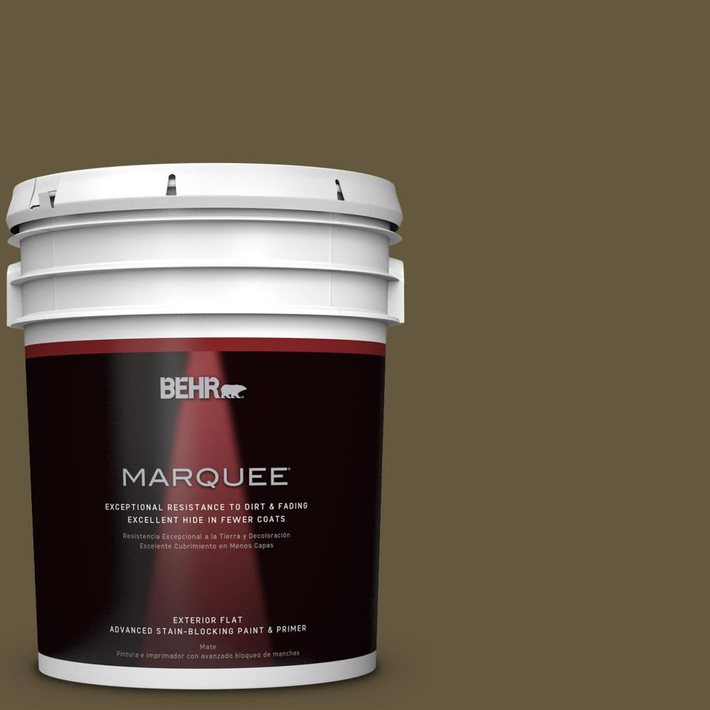 BEHR MARQUEE 5-gal. #PPU7-1 Moss Stone Flat Exterior Paint