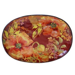 Watercolor Poppies Oval Platter by
