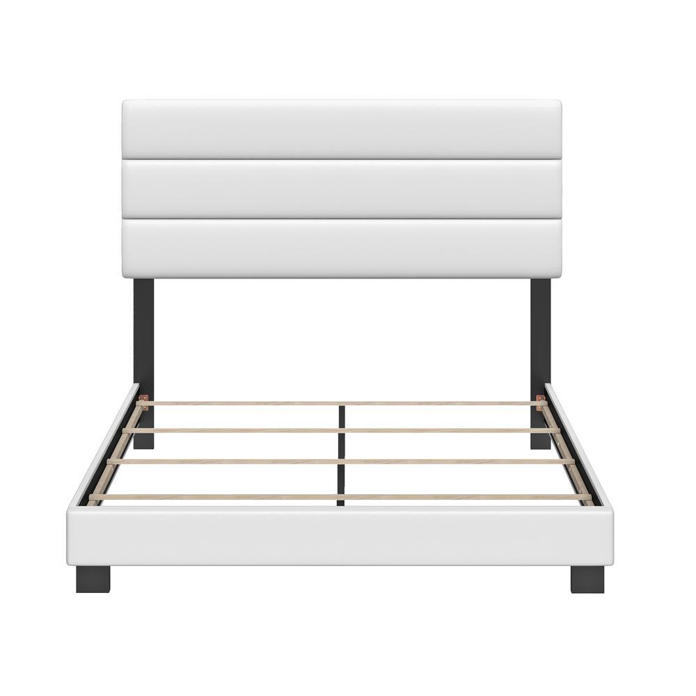 Vivian Faux Leather White Full Upholstered Platform Bed Frame