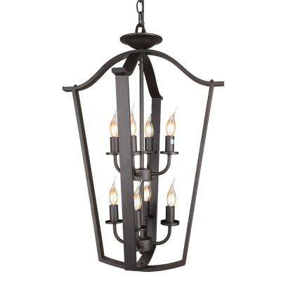 8-Light Bronze Cage Foyer Chandelier