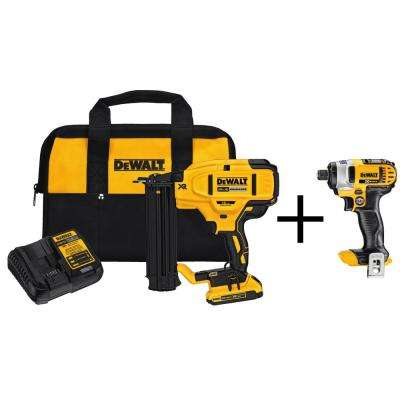 20-Volt Max Lithium-Ion 18-Gauge Cordless Brad Nailer Kit with Bonus Bare 20-Volt Max 1/4 in. Cordless Impact Driver