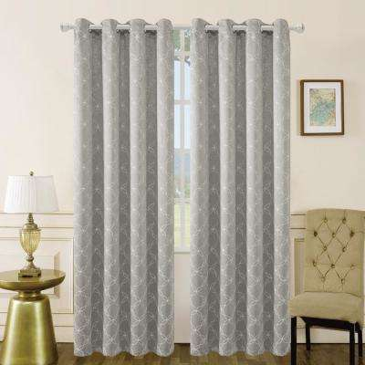 Amelia 95 in. L x 50 in. W Blackout Polyester Curtain in Silver